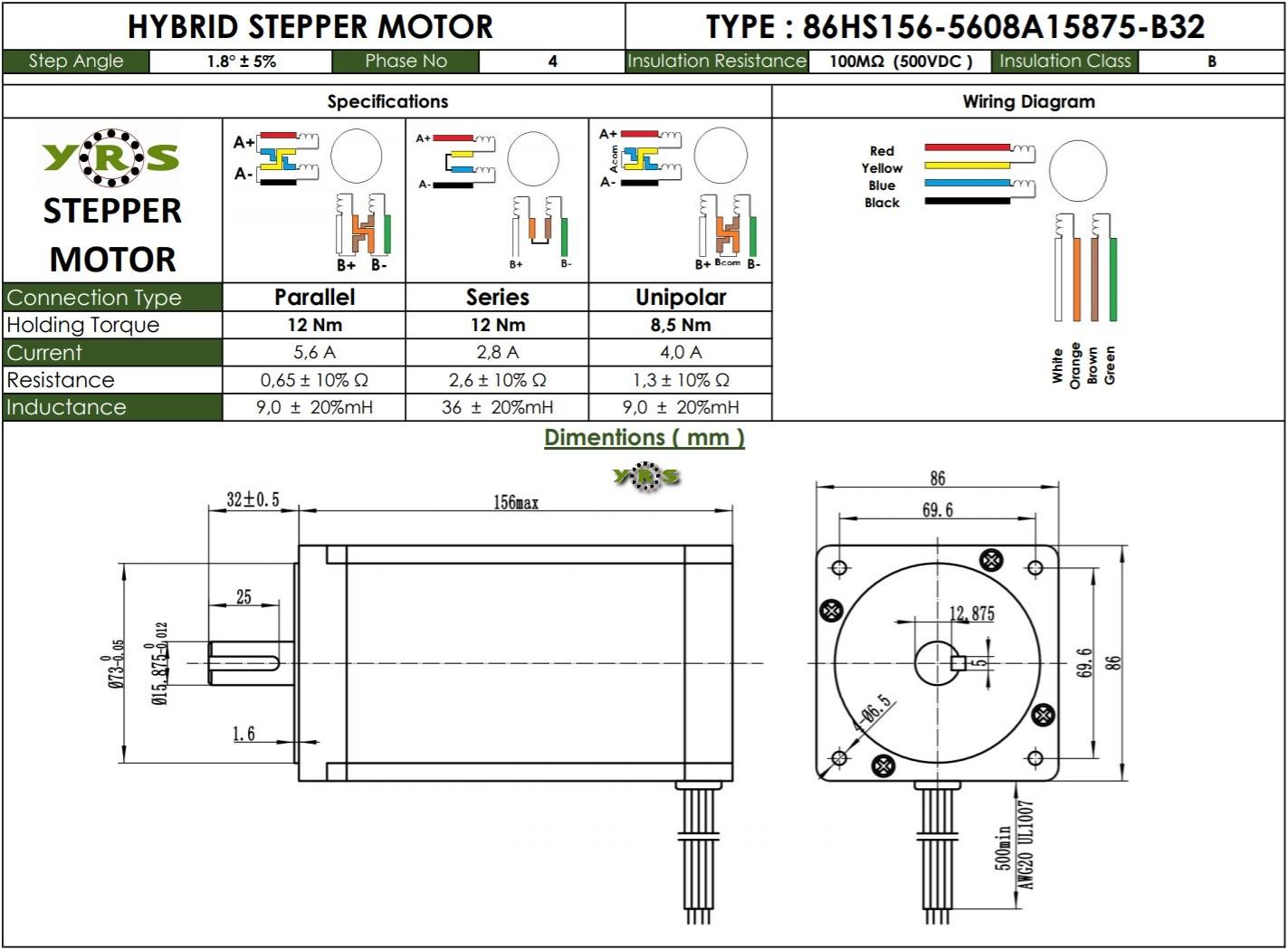 Nema 34 86HS156 Step Motor 12Nm