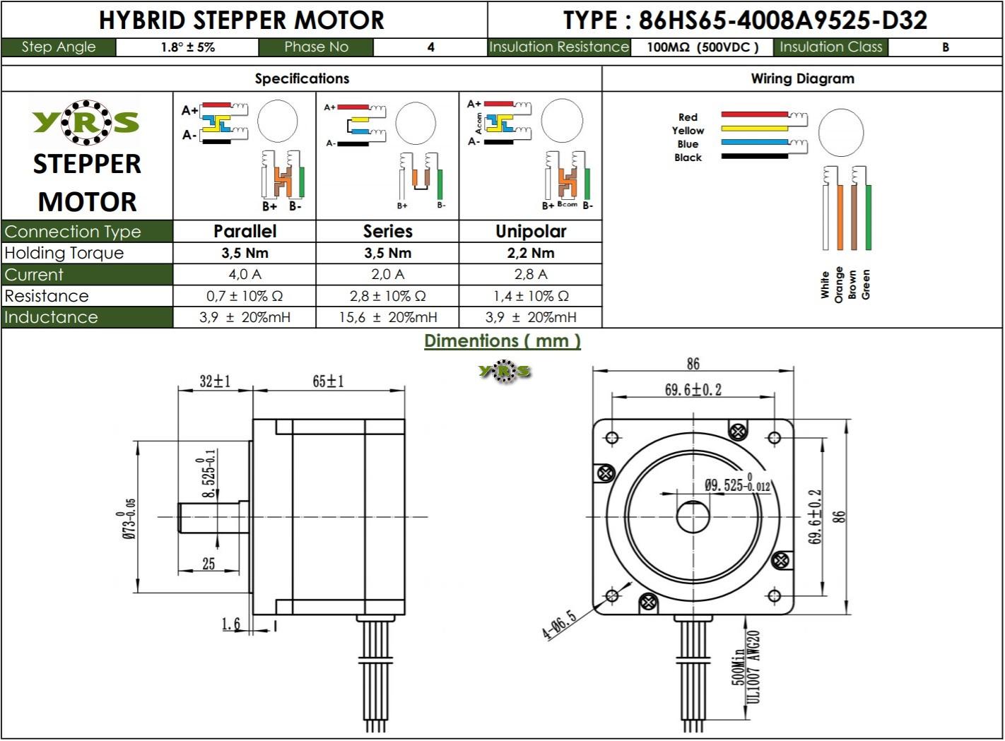 Nema 34 86HS65 Step Motor 3,5Nm