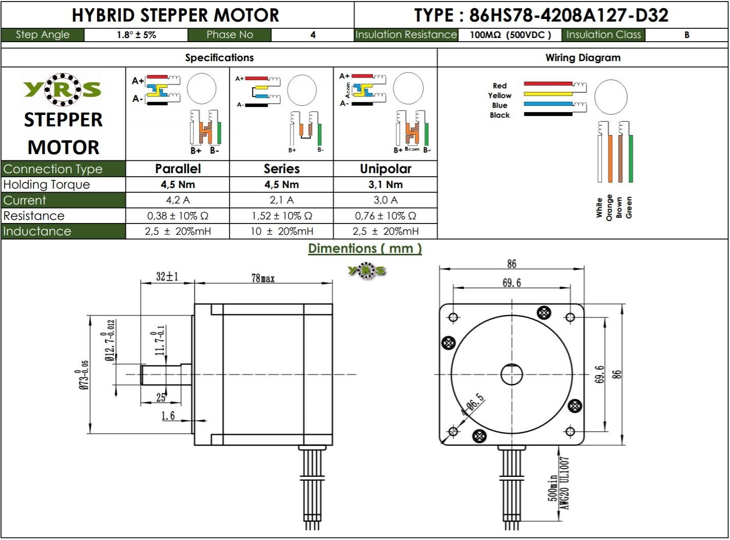 Nema 34 86HS78 Step Motor 4,5Nm